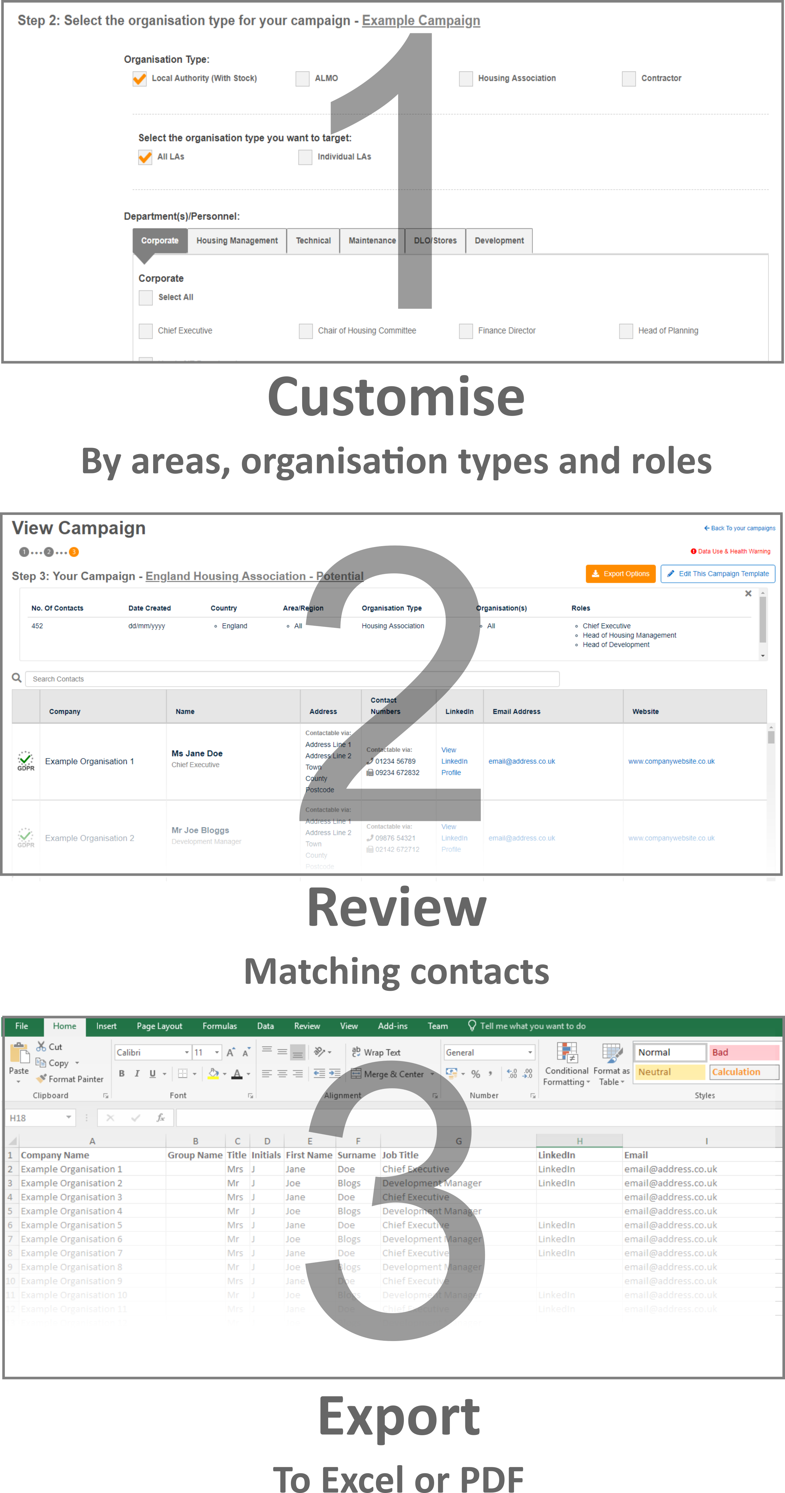 Marketing - Customise and Review then Export each report