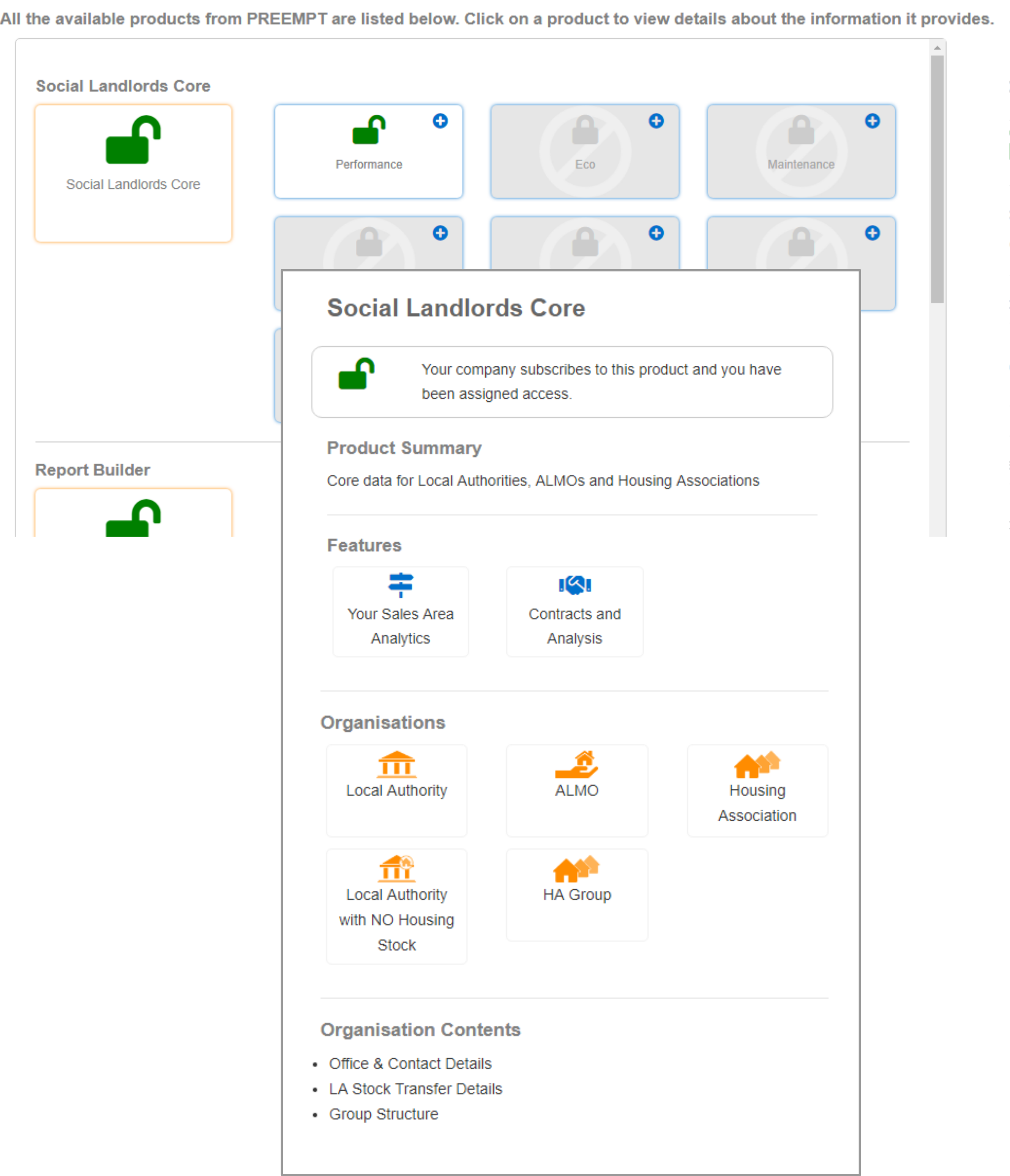 Settings - Module View of Social Landlord Core